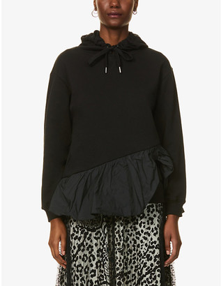 RED Valentino Frilled-trim cotton-blend jersey and shell hoody