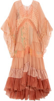 Chloé Ruffled Printed Silk-mousseline And Tulle Maxi Dress - Blush