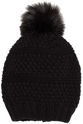 San Diego Hat Company Knit Beanie w/ Faux Fur Pom (Black) Beanies