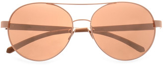 Linda Farrow Aviator-style Rose Gold-tone And Wood Sunglasses