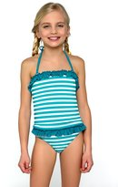 Lorin Candy Striped Tankini, and Briefs, Halterneck Girls' 2 Piece Ruffled Swimsuit
