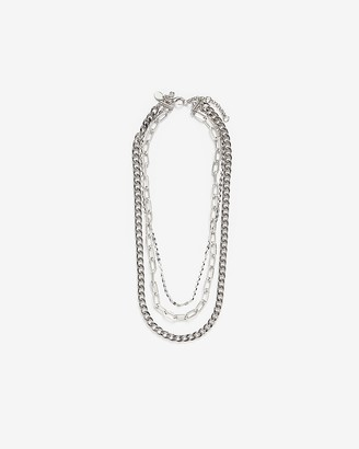 Express Three Row Multi-Layered Chain Necklace