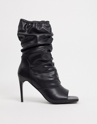 Simmi Shoes Simmi London Killy ruched stiletto heeled boots with open toe in black