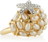 Kenneth Jay Lane Crystal and faux pearl starfish ring