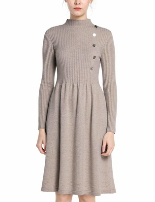APART Fashion Women's Knitted Dress with Buttons Casual
