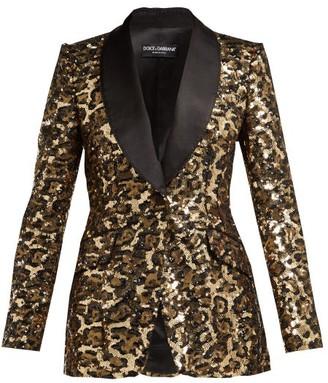 Dolce & Gabbana Leopard Shawl Lapel Sequinned Blazer - Womens - Leopard