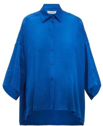 Balenciaga Floral-jacquard Shirt - Womens - Blue