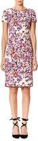 Carolina Herrera Short-Sleeve Floral-Print Faille Sheath Dress