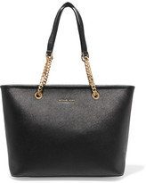 MICHAEL Michael Kors Jet Set Travel Textured-leather Tote - Black