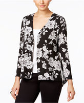 NY Collection Petite Floral-Print Blazer