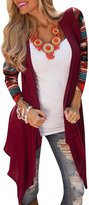 Azbro Women's National Wind Printing Open Front Cardigan