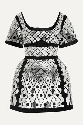 David Koma Cutout Embellished Velvet Mini Dress - Black