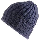 Black Navy Chunky Rib Knit Cashmere Beanie