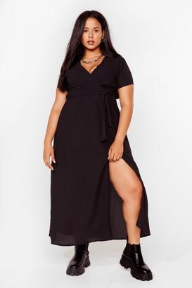 Nasty Gal Womens Longing For You Plus Wrap Dress - Black - 16