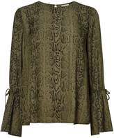 Twist And Tango Tracy Snake Print Flute Sleeve Blouse