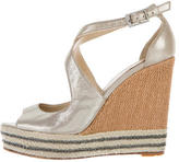 Brian Atwood Metallic Crossover Wedge Sandals