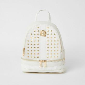 River Island Girls white studded backpack