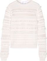 Oscar de la Renta Ruffled and fringe-trimmed silk-blend top