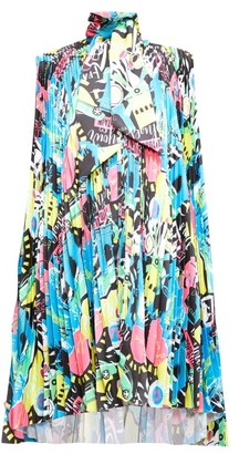 Balenciaga Tie-neck Paris-print Plisse-satin Dress - Multi