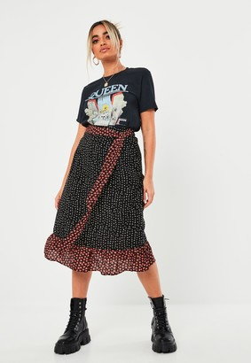 Missguided Petite Black Mix Print Midi Skirt