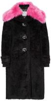 Prada Faux Fur-trimmed Alpaca And Wool-blend Coat - Black