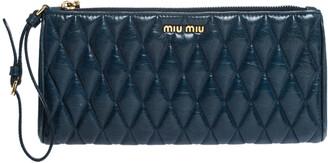 Miu Miu Blue Diamond Quilted Leather Zip Wristlet Clutch