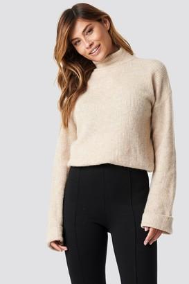 NA-KD Alpaca Wool Blend High Neck Sweater Beige