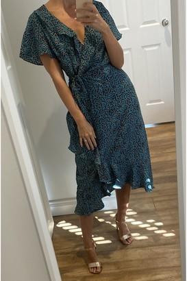Gini London Green Animal Printed Wrap Midi Dress
