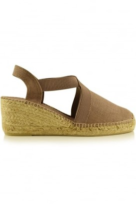 Toni Pons Taupe Ter Linen Espadrille Wedge - 36 - Brown