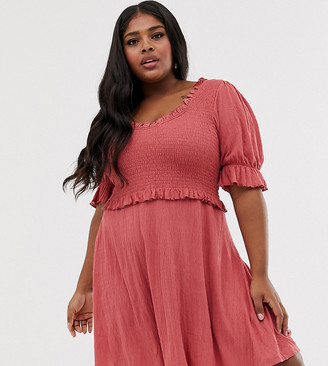 ASOS DESIGN Curve scoop neck shirred skater sundress in pink