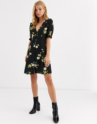 Nobody's Child button front mini dress in black floral