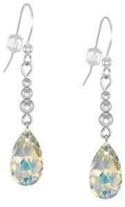 Handmade Jewelry by Dawn Crystal Aurora Borealis Long or Short Teardrop Sterling Silver Pear Earrings