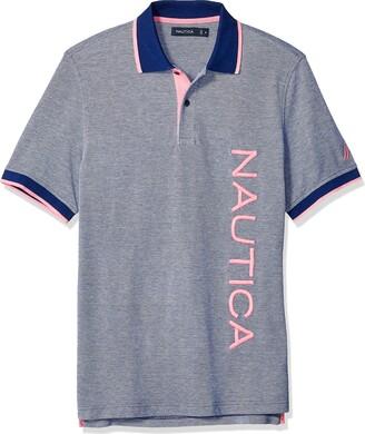Nautica Men's Tall Short Sleeve Contrast Logo Ofxord 100% Cotton Polo Shirt