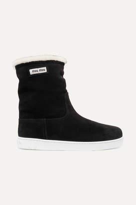Miu Miu Shearling-lined Logo-print Suede Boots - Black