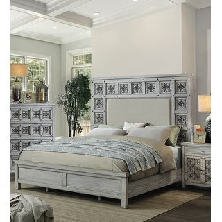 Furniture of America Dily Rustic Grey Fabric Carved Panel Bed