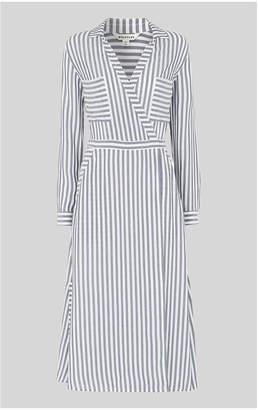 Whistles Stripe Wrap Shirt Dress