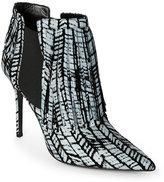 Aperlaï Grey & Black Victoire Fringed Pointed Toe High Heel Ankle Booties