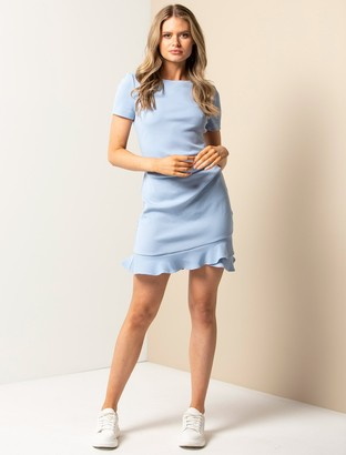 Forever New Annie Rib Short Sleeve Frill Dress - Placid Sky - 10