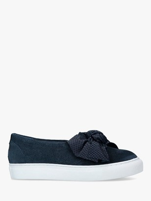 Carvela Jedd Suede Bow Slip On Trainers, Navy