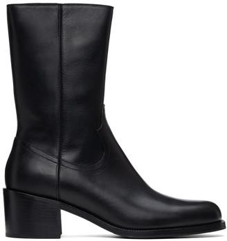 Dries Van Noten Black Leather Zip-Up Boots