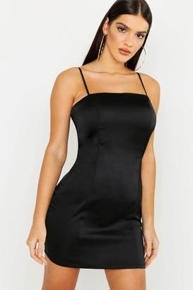 boohoo Satin Square Neck Bodycon Dress