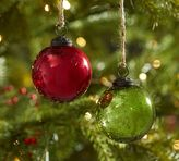 Pottery Barn Red & Green Mercury Glass Ball Ornaments - Set of 6