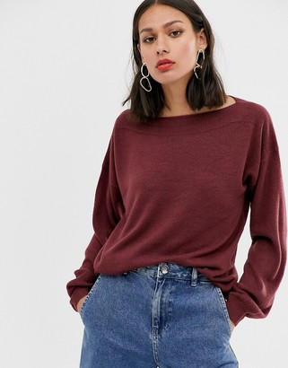 Only boat neck pullover knit jumper-Red