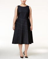 Calvin Klein Plus Size Piped A-Line Dress