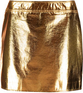 McQ by Alexander McQueen Metallic faux textured-leather mini skirt