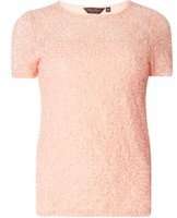 Dorothy Perkins Womens Pink Sequin Lace T-Shirt- Pink