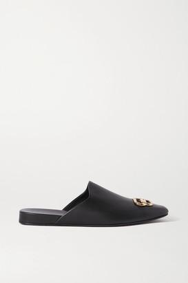 Balenciaga Cosy Bb Logo-embellished Leather Slippers - Black