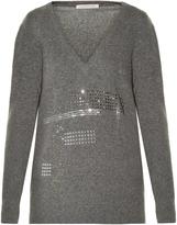 Christopher Kane Crystal-embellished V-neck sweater