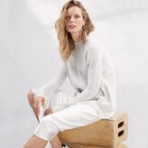 The White Company Textured Stitch Jumper with Cashmere , Cloud Marl, Extra Large