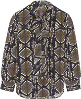 Marc Jacobs Pussy-bow snake-print silk-crepe blouse